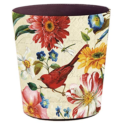 Lingxuinfo Retro Style Small Trash Can Wastebasket, Decorative Trash Can Waste Paper Basket Waste Container Bin for Bathroom, Bedroom, Office and More, 10L Capacity (Red Bird)