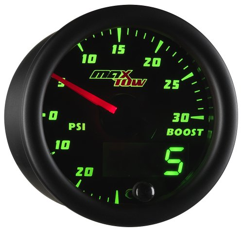 MaxTow Double Vision 30 PSI Turbo Boost / Vacuum Gauge Kit - Includes Electronic Pressure Sensor - Black Gauge Face - Green LED Dial - Analog & Digital Readouts - for Gas Trucks - 2-1/16' 52mm