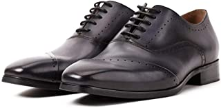 Shoes Comfortable Mens Shoes Europe and The United States Retro Derby Shoes Leather England Shoes Handmade Summer New Mens Bullock Fashion (Color : Black, Size : 8-UK)