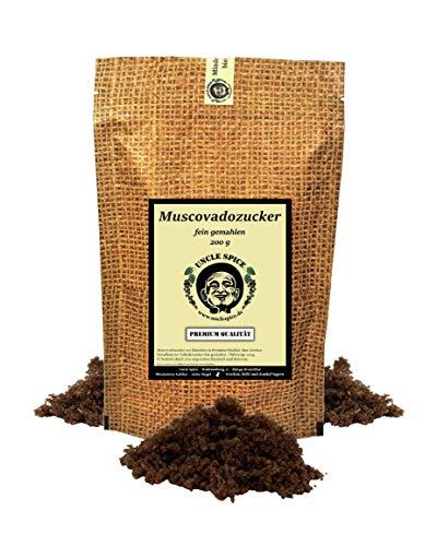 Uncle Spice Muscovado Zucker - 200g feinster Muscovado Vollrohrzucker, unraffiniert - in Premium-Qualität - unraffinierter Karamell-Rohrzucker aus Mauritius, 1a Qualität und extra malzig