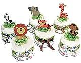Set of 6 Jungle Safari Diaper Cake Baby Shower Centerpieces - Elephant, Zebra, Tiger, Lion, Monkey and Giraffe