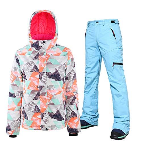 Skianzug 2er Set für Damen, Snowboard-Skihose/Jacke, wasserdicht, atmungsaktiv, winddicht, Skijacke, Ski-Outfit Snowboard Schneeanzug Jumpsuit Sets, Take Off Easy Gr. L, blau