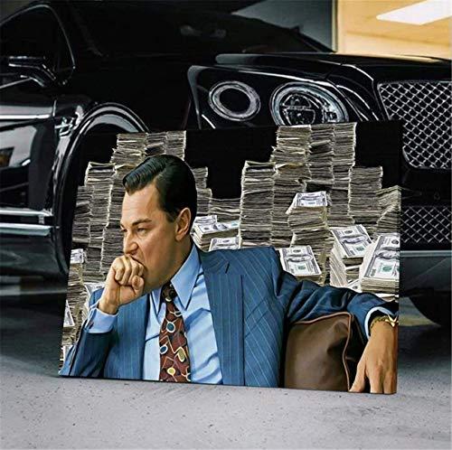 DOLUDO Wandkunst Dekoration Wolf von Wall Street Movie Poster Print Leinwand Gemälde Kunstwerk Geschenk Bild Kunstwerk für Wohnzimmer Dekoration 60 x 80 cm (kein Rahmen)
