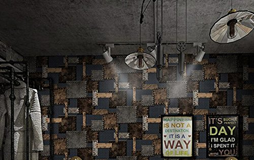 KYXXLD Industriële wind behang, retro nostalgie, ijzer persoonlijkheid behang, 3D driedimensionale restaurant, bar, kledingwinkel behang
