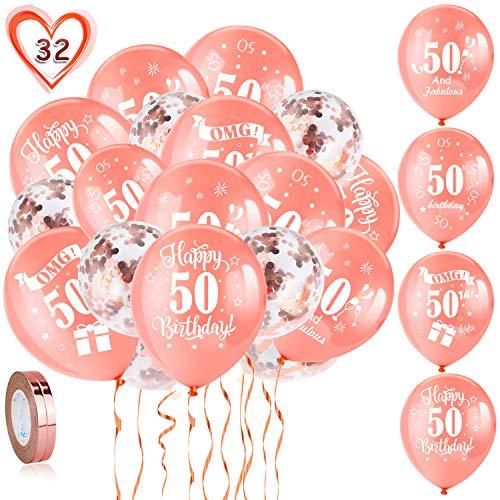 HOWAF 50. Geburtstag Luftballons, 30 Stück Rose Gold 50. Geburtstags Deko Ballons Latex Konfetti Luftballons & 2 Bänder für Frauen 50. Geburtstag Party Dekorationen - 12 Zoll (Alter 50)