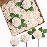 Roqueen 25 Stück Künstliche Blumen Rosen Deko Blumen Gefälschte Rosen Schaum mit Stielen für DIY Hochzeit Blumensträuße Braut Zuhause Dekoration
