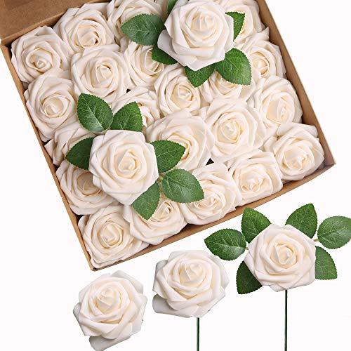 Roqueen 25 Piezas Flores Rosas Artificiales Espuma Rosa Falsa con Tallos para Boda Nupcial Ramos Centros de Mesa Preparativos Partido Hogar Decoración (Crema)