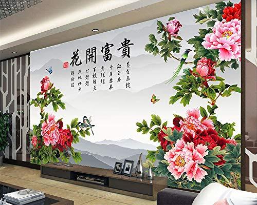 Wandbilder Moderne WanddekoBenutzerdefinierte Tapete Blume öffnet eine reiche Pfingstrose günstigen chinesischen TV Hintergrundwände Wohnzimmer Schlafzimmer 3d Tapete
