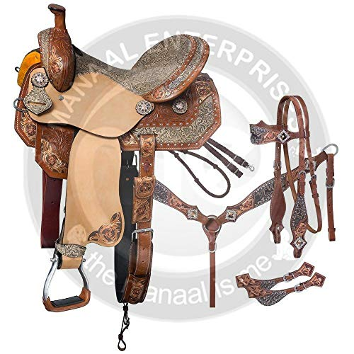 "Manaal Enterprises Premium Leder Western Barrel Racing Adult Horse Sattel Tack, Größe 14\""-18\"" Zoll Sitz verfügbar, frei passende Leder Headstall, Brustkragen, Zügel & Sattelkissen (16\"" Zoll Sitz)"