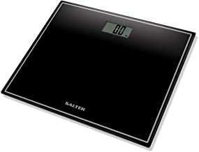 Salter Compact Digital Bathroom Scales - Toughened Glass, Measure Body Weight Metric / Imperial, Easy to Read Digital Display, Instant Precise Reading w/ Step-On Feature, 15Yr Guarantee - Black
