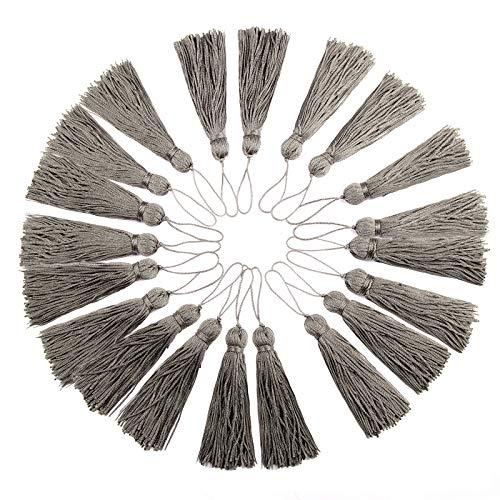 BEL AVENIR 20 Stück handgefertigte Mini-Polyester-Faden Quaste Anhänger bunte Quasten für DIY Schmuck Kissen Heimdekoration (Anthrazit)
