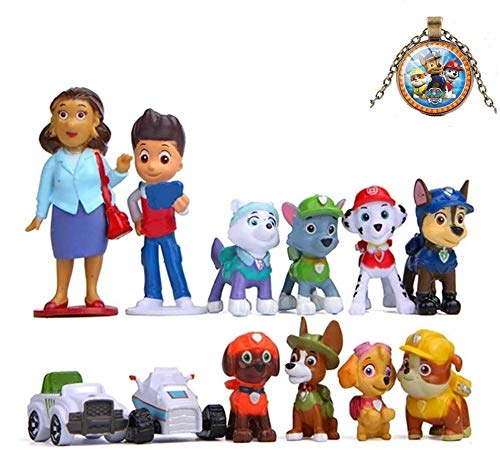 12pcs Paw Dog Patrol Cake Topper – Deluxe Mini Figures Set – Birthday Party Supplies Cupcake Figurines with Keychain