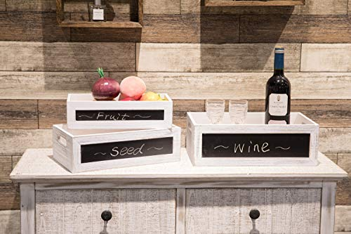 "Whitewashed Wood Nesting Storage Crates with Chalkboard and Cutout Handles,Rectangular Vintage Wooden Crates for Storage Set of 3-14.2""/13""/11.8"""