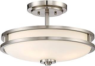 "Quoizel CDT1715BN Cadet Semi-Flush Ceiling Lighting, 3-Light, 300 Watts, Brushed Nickel (10"" H x 15"" W)"