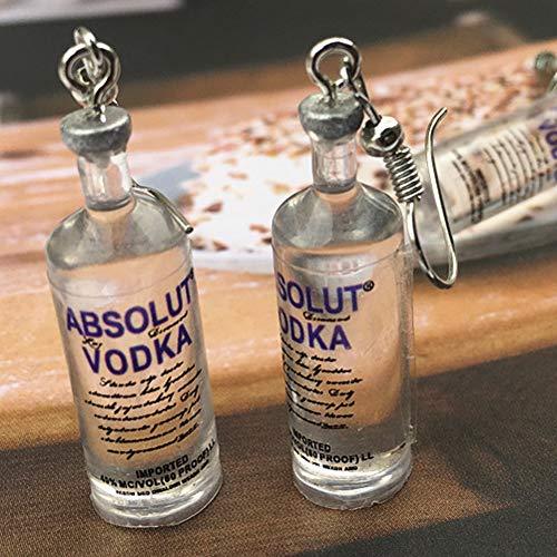 1 Paar handgemachte kühle Flasche Wodka-Tropfen-Ohrringe Interessante Getränkeflaschen baumeln Ohr-Haken - 5