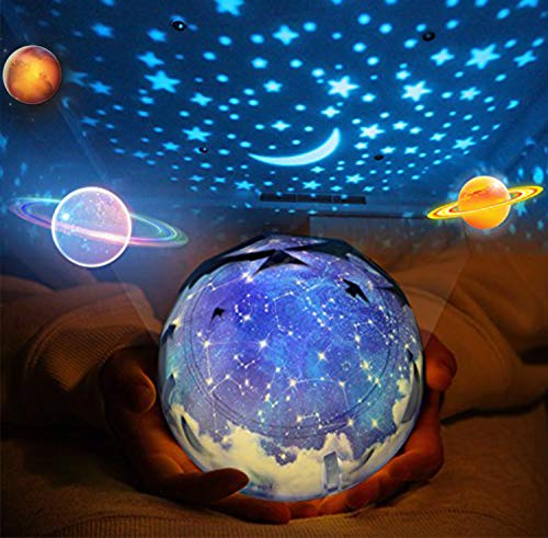Giratorio Star Light Proyector, Bebé Luz de noche Lámpara 5 estilos de pantalla cambiables, Luz decorativa de humor para Kids Child Bedroom Living Room Party (Alimentado por USB o Baterías operadas)