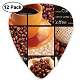 Guitar Picks - Abstract Art Colorful Designs,Square Frames Collage Design With Orange Cup Hot Beverage Morning Drink,Unique Guitar Gift,For Bass Electric & Acoustic Guitars-12 Pack