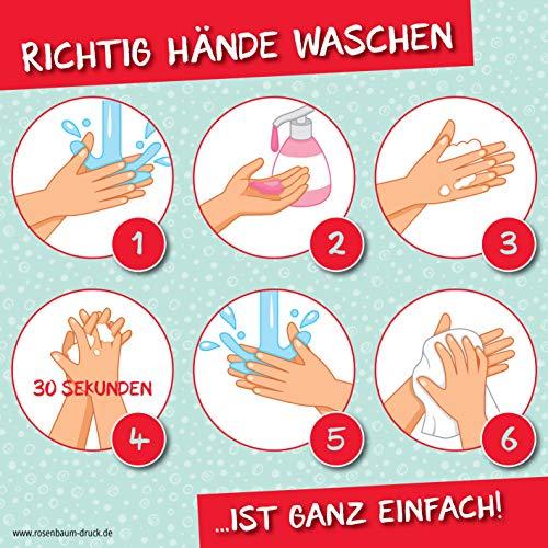 2 Stück Aufkleber Richtig Hände waschen / 12 x 12 cm/Sticker/Für Schulen, Einzelhandel und Institutionen mit Publikumsverkehr