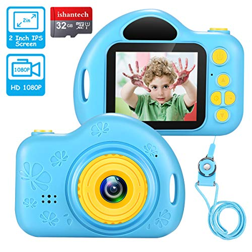 ishantech Kids Digital Camera Toys for Girls 1080 IPS 2 inch HD Girls Best Birthday Toys Mini Toddler Camera for 3 4 5 6 7 8 9 Year Old Girls with 32G SD Card (Blue)