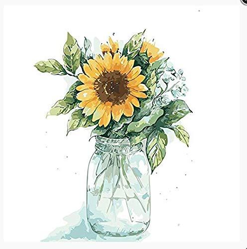 Olieverfschilderij om te knutselen, digitaal, voor kinderen en volwassenen, voor het beschilderen, decoratie voor thuis, zonnebloemen, in een vaas van glas 30x40cm