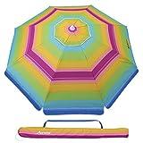MOVTOTOP 2M Garden Umbrella, Non-Rusting Parasol Umbrella with Tilted Aluminum Crank, Beach Patio Umbrella Sun...