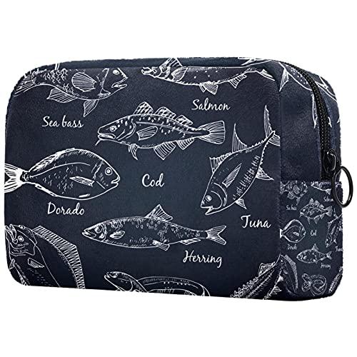 Kosmetiktasche Reise-Toilettenartikel täglich tragbare Make-up-Tasche mit Reißverschluss Zip,Fischsammlung Dorado Aal Wolfsbarsch Lachs Kabeljau Thunfisch Hering Seezunge Stör