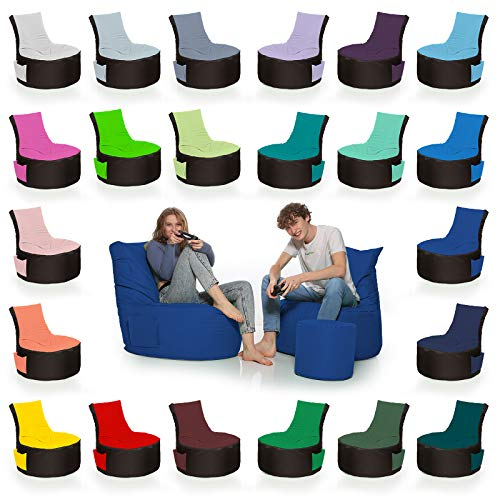 HomeIdeal - 2Farbiger Gamer Sitzsack Lounge für Erwachsene & Kinder - Gaming oder Entspannen - Indoor & Outdoor da er Wasserfest ist - mit EPS Perlen, Farbe:Schwarz-Blau, Größe:Erwachsene