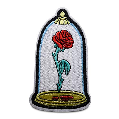 Finally Home Rose in glas strijkplaatje patch om op te strijken | Rozen bloemenpatches, opstrijkmotieven