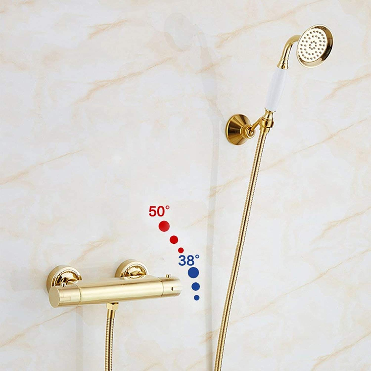 Bathroom Kitchen Sink Faucet,golden Shower Shower Set Continental Copper Simple hot and Cold Hand-held Shower Faucet.