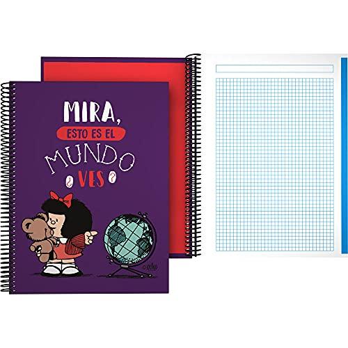 Mafalda 16502638. Cuaderno A4, Espiral, Cuadriculado 5x5, Tapa Dura Cartón, Bandas Color, Certificado FSC, Colección Mafalda, Mundo, 140 Hojas Microperforadas, 4 Taladros, 5 Bandas Color
