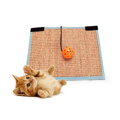 KOMUSII Kratzbrett,Katzenspielzeug Klingelball Kratzbrett für Katzen mit Anti-Rutsch Bodenstopper und Katzenminze,Geeignet für Fußbodenheizung, Krallenpflege Sisalteppich für Wand & Boden,Kratzmatte