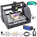 CNC Machine, MYSWEETY DIY CNC 3018PRO-M 3 Axis CNC Router Kit with 7000mW 7W Module + PCB Milling, Wood Carving Engraving Machine with Offline Control Board + ER11 and 5mm Extension Rod(Black)