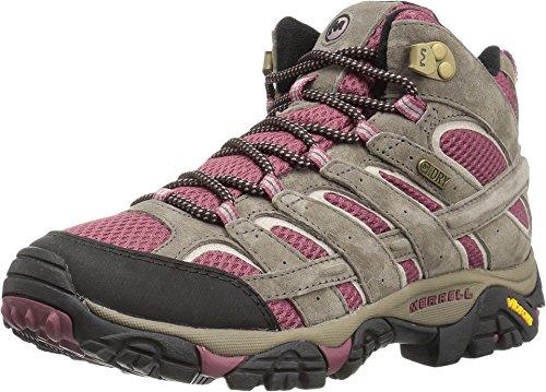 Merrell Women's Moab 2 Mid Waterproof Hiking Boot, Boulder/Blush, 8.5 M US