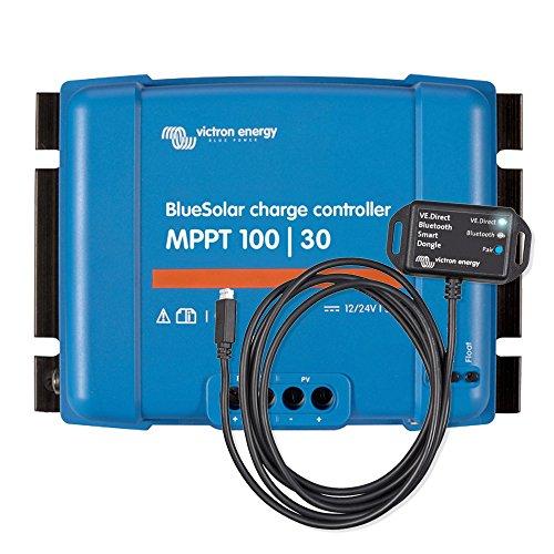 Victron Energy Set BlueSolar | Régulateur solaire de charge | MPPT 100/30 avec VE.Direct Bluetooth Smart Dongle boîtier solaire