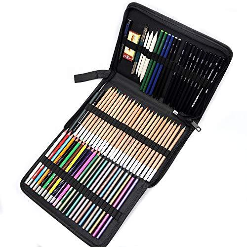 Kevin Bin Lapices Colores,Herramientas Dibujo 36 Juegos Suministros Arte Profesional Boceto Pintado A Mano Adecuado para Creadores Arte