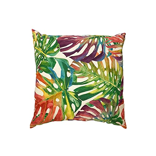 Rizzi Cojín de decoración cuadrado de algodón con estampado tropical, multicolor, 50 x 50 cm