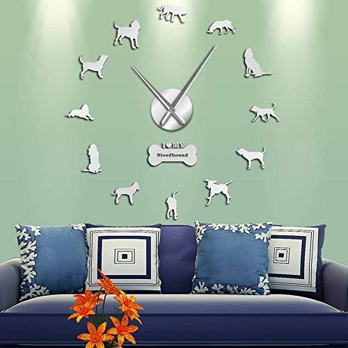 Bloodhound Dog Breed Giant 3D Effect DIY Reloj de Pared Animal Pet Canine Figurine Wall Stickers Reloj para Sala de Estar Barrido silencioso-47 Pulgadas