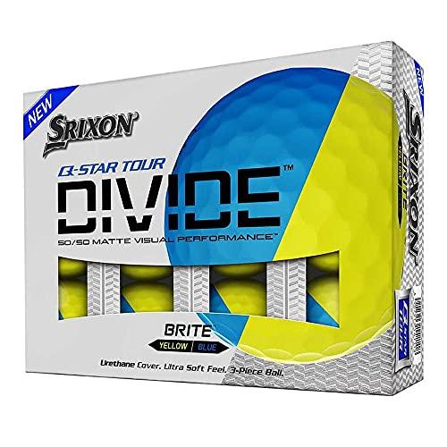 スリクソン 2020 Q-STAR TOUR DIVIDE ゴルフボール イエロー×ブルー 蛍光・艶消し 1ダース(全12球) USA直輸入品 イエロー/ブルー