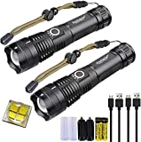 2 Pack LED Rechargeable XHP70 Flashlight 5 Modes 5000 High Lumens Super Bright Waterproof Tactical Zoomable Handheld Torch Light with 18650 Battery and USB Cable for Camping Outdoor Emergency