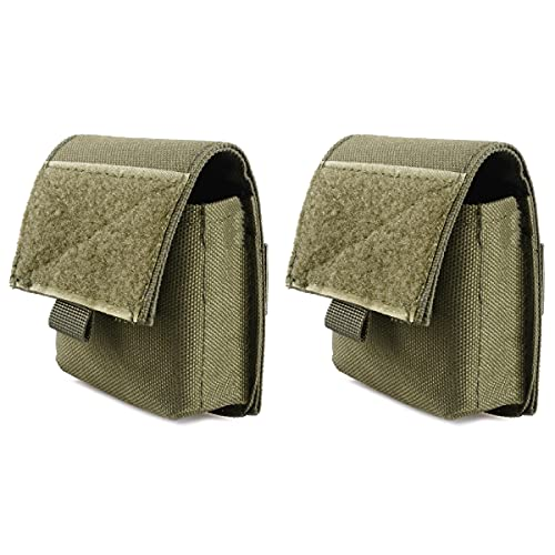 Azarxis Tactical Cigarette Pouch, Multi-Purpose Compact Waist Bags Small Utility Pouches Military Molle Pack Sundries Storage Bag (Army Green - 2 Pack)