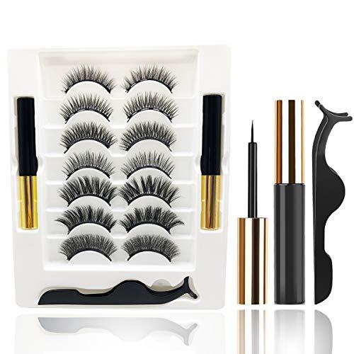 Magnetische Wimpern Magnetic Eyeliner Natural Look 3D Künstliche Magnet Wimpern Wiederverwendbare, 2 Tubes of 5ML Wasserdicht Magnetischer Eyeliner, Ideal für Geschenk 7 Paare
