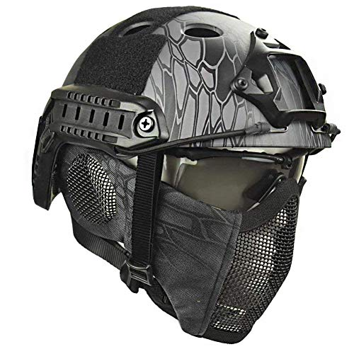 QZY Airsoft Paintball Schutzhelm, Taktische Helme mit Stahlgitter Maske CS Spiel Set 8 Farbe,TY