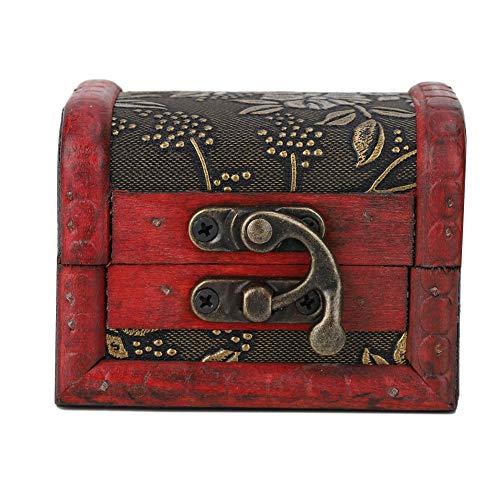 OhhGo Caja de almacenamiento de joyería vintage hecha a mano de madera decorativa (uva dorada)