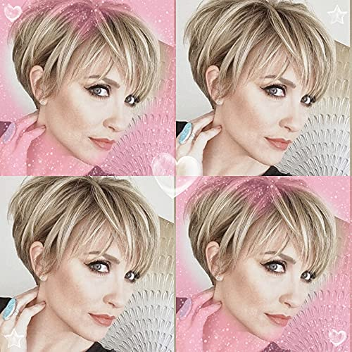 Creamily Women Short Pixie Cut Wig with Bangs Synthetic Layered Fluffy Full Replacement Hair Heat Resistant Daily Wear Wigs Ash Blonde Lowlight with Root Stretch