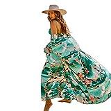 Lazzon Cache-Maillot de Bain Longue Femme Cardigan de Plage Sexy Mousseline Paréo (Vert B)