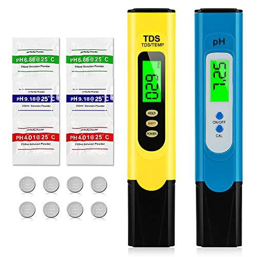 omitium pH Messgerät, pH TDS und Temperatur Set mit LCD anzeige Digital Wasserqualität Tester(ATC) Hoher Genauigkeit für Trinkwasser Schwimmbad Aquarium Pool Labor