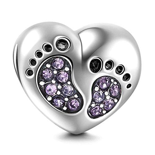 Footprint Charm in argento Sterling 925 a forma di cuore, per compleanno, compleanno, anniversario, per braccialetti Pandora (viola)