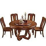 Mesa de Comedor, Mesa de Comedor Redonda de Madera Maciza y combinación de Silla, Juego de 7 Piezas con Mueble de Cocina Giratorio de 130 cm / 150 cm,150cm