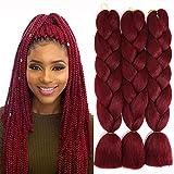 Jumbo Synthetic Braiding Hair Kanekalon Braids Hair Extensions Ombre Braiding Hair for Box Twist Braiding 24 Inch 3Pcs/Lot 100G/Pcs (Red)