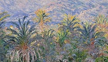 YYAYA.DS Claude Monet Palm Trees at Bordighera Impressionism. - Art Print Silk Fabric Cloth Rolled Wall Poster Print 42x24 Inches